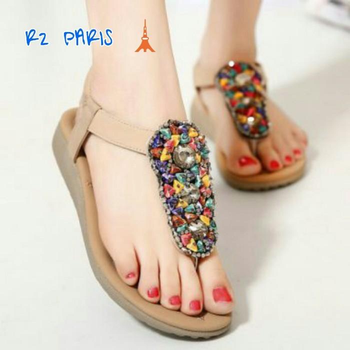 harga Sepatu sandal stone khazar cream & hitam Tokopedia.com
