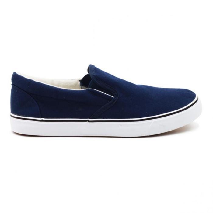 Faster Sepatu Sneakers Kanvas Cewek 1603-06 - Navy-Putih