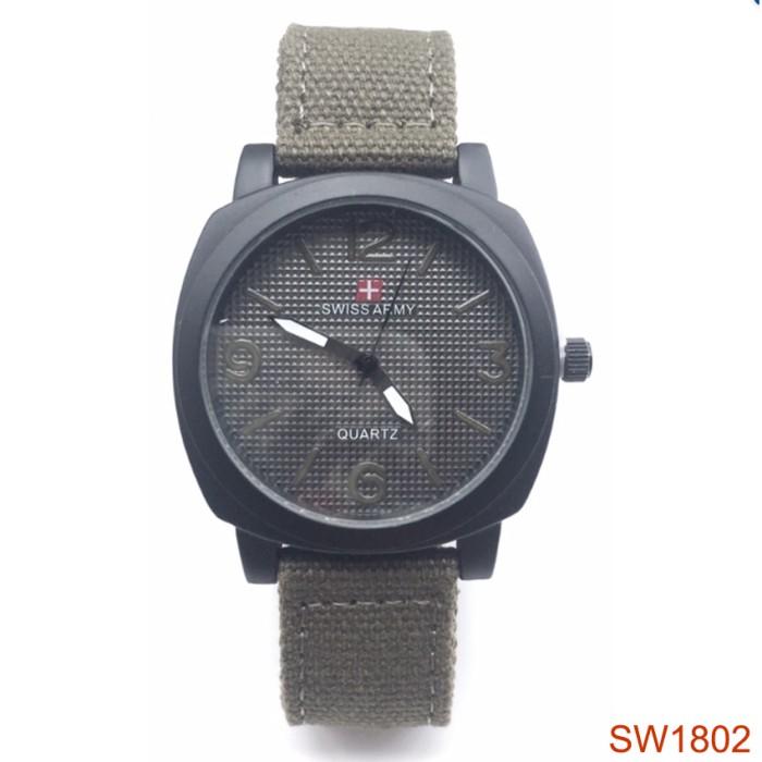 Swiss Army Jam Tangan Wanita SW1802-GA Strap Kanvas (Green Army