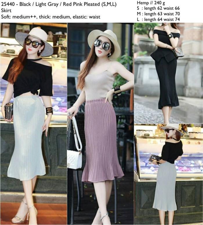 harga Rok pleat plisket pink abu abu hitam bahan hemp import murah Tokopedia.com