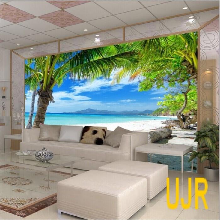 Jual Wallpaper Dinding Model Pemandangan Pantai u0026 Kelapa Untuk