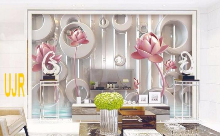 Wallpaper Dinding Model Teratai Emas 3 Dimensi Untuk Ruang Tamu
