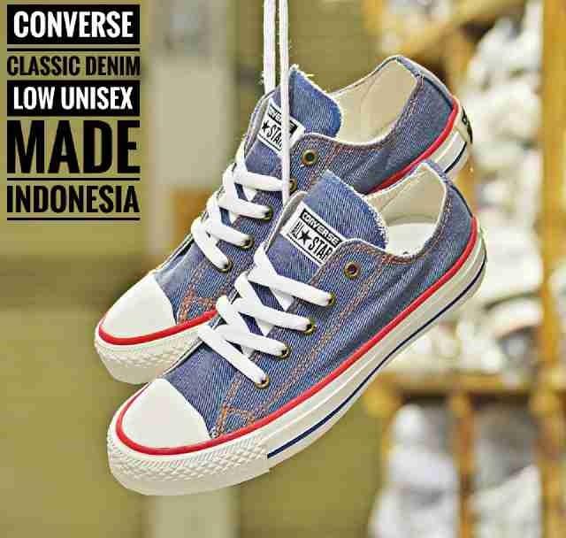 ... harga Sepatu murah converse classic low original indo denim unisex  Tokopedia.com ab1da12e72