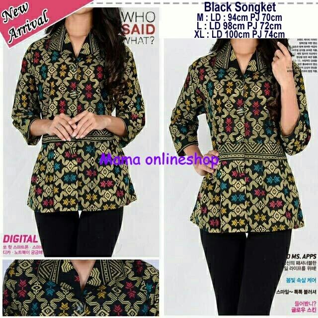 harga Black songket/baju batik panjang/batik kantor/batik wanita/sb Tokopedia.com