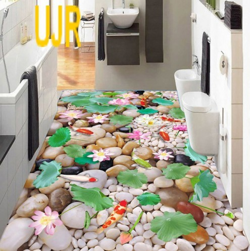 Wallpaper Lantai Model Ikan Koi Bebatuan Untuk Ruang Dapur Dll