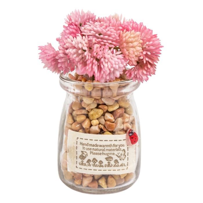 harga Yu pink   tanaman sintetis bunga palsu pot kaca hiasan pajangan meja Tokopedia.com
