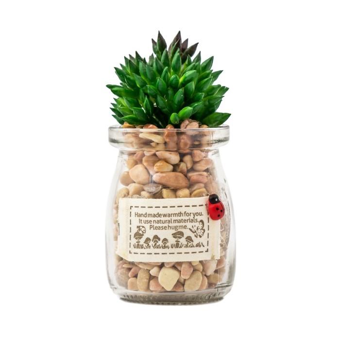harga Yu hijau   tanaman sintetis bunga palsu pot kaca hiasan pajangan cafe Tokopedia.com