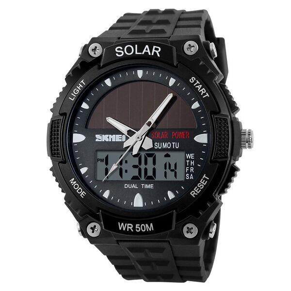 Jam tangan pria skmei solar power sport led watch water resistant