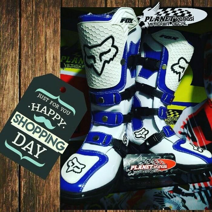 harga Sepatu cross / mx / trail fox lokal putih biru Tokopedia.com