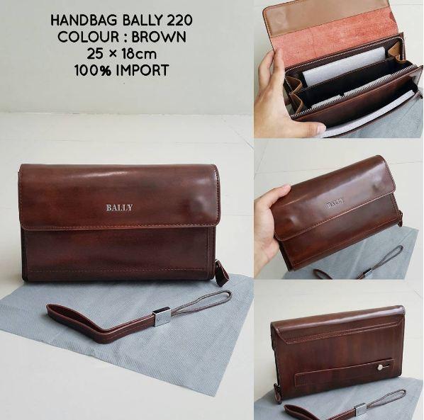 Handbag Bally Brown 220 Clutch Pouch Bag Kulit Import Pria Cowok