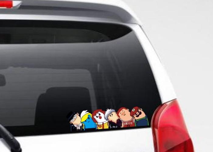 harga Aksesoris stiker mobil motor smurf mcd mitchii kepala sticker lucu