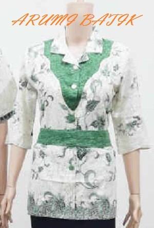 harga Blouse blus kemeja atasan seragam wanita batik 1784 hijau jumbo Tokopedia.com