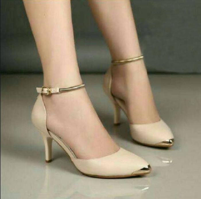 Sepatu wanita murah - high heels gelang cream nfz68