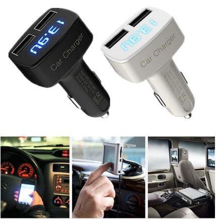 harga 4 in 1 usb car charger ampere-voltmeter-temperatur meter display biru. Tokopedia.com