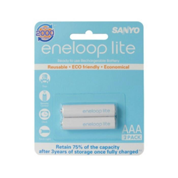 Baterai Batere Batre Sanyo Eneloop Lite 2pcs Battery AAA Rechargeable
