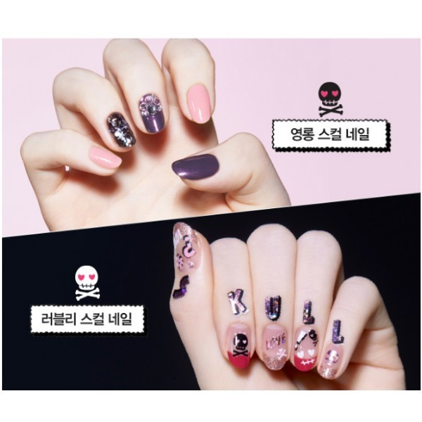 Etude house pink skull play nail sticker