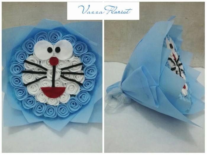 Jual Buket Bunga Model Doraemon Bunga Flanel Kado Ultah Kota