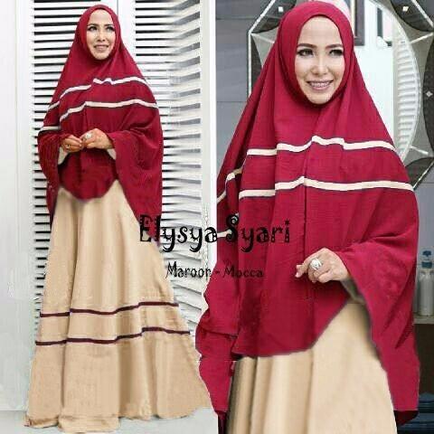 Jual Model Baju Gamis Modern Elysya Warna Maroon Mocca Jual Termurah Kota Bogor Model Hijab Muslimah Tokopedia