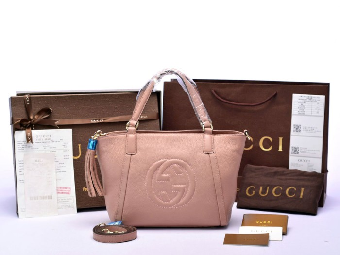Jual Tas Gucci Soho Leather Top Handle Softpink PS369176 - premium ... 0f94d31a0a