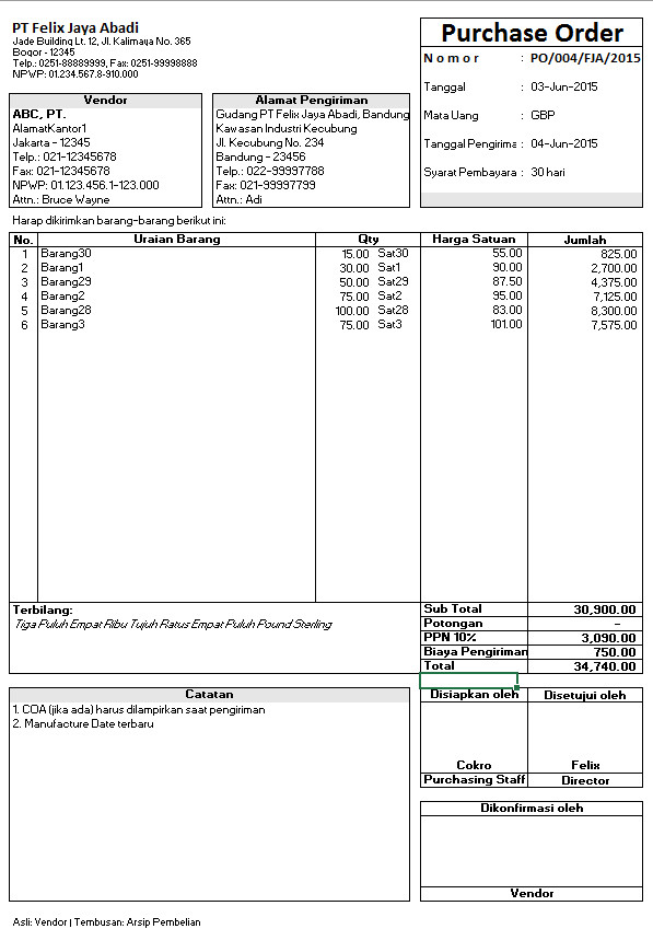 Jual Xl Po 20 Aplikasi Purchase Order Pada Microsoft Excel Dki Jakarta Felix Jaya Tokopedia