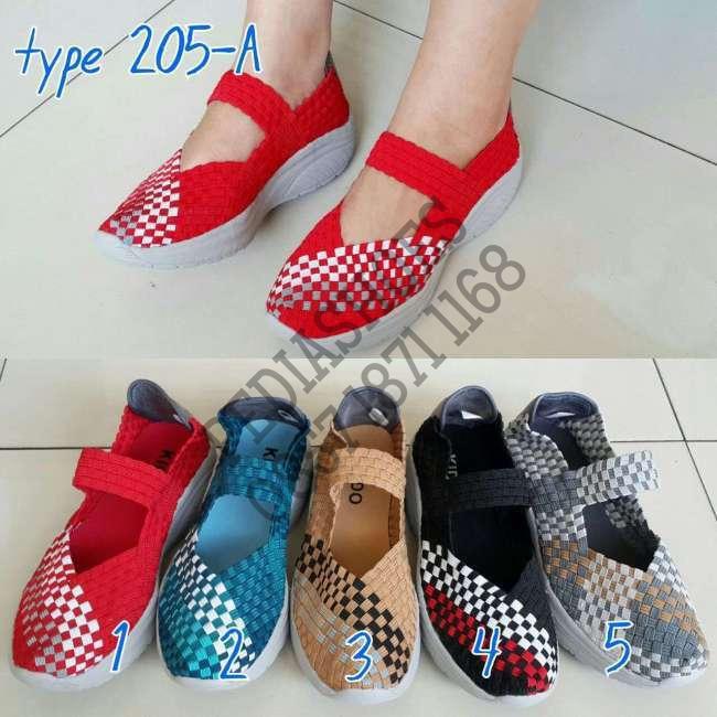(garansi termurah) woven shoes septu wanita rajut anyaman  kiddo 205-a
