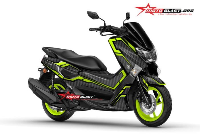 Jual Decal stiker Yamaha NMAX Black Carbon Green lime