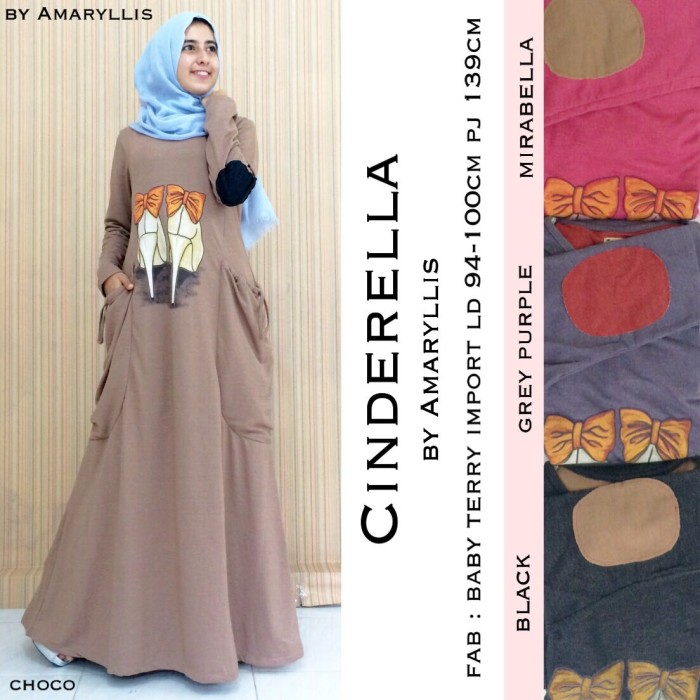 Longdress Abaya Maxidress Casual Gamis Model Terbaru CINDERELLA DRESS