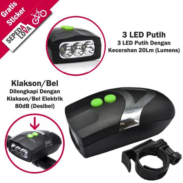 harga Lampu depan sepeda 3 led putih waterproof klakson bel elektrik Tokopedia.com