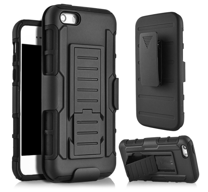 Foto Produk Case Stand Holster Belt Clip Iphone 5 5S SE Full Armor Future Hybird - Hitam dari NYATACELL