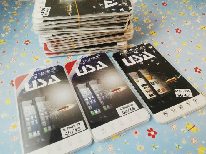 Tempered Glass iPhone 4 4s 4G Screen Guard Protector Anti Gores Kaca .