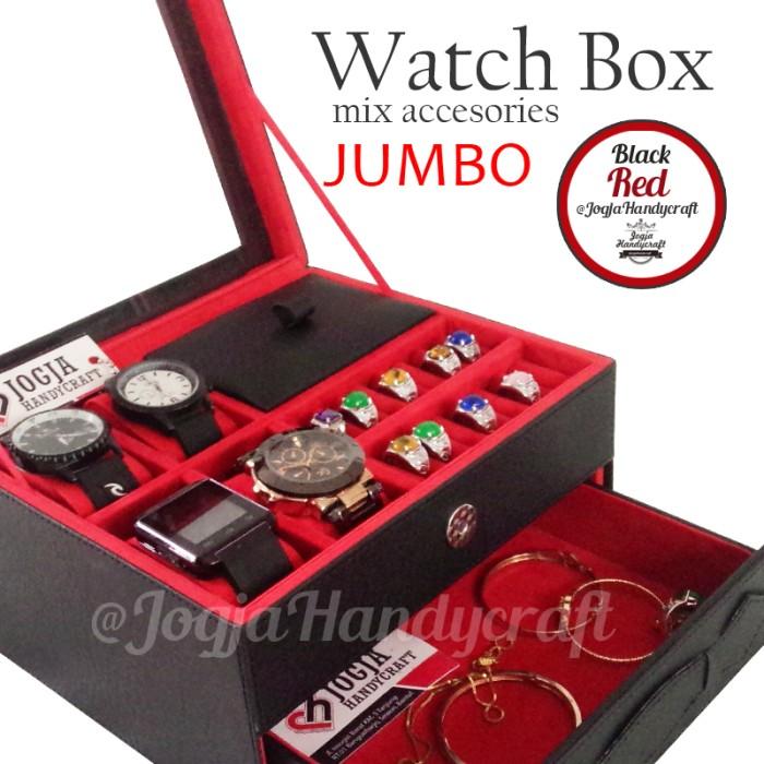 harga Box kotak jam tangan isi 4 jumbo mix tempat perhiasan - black red Tokopedia.com