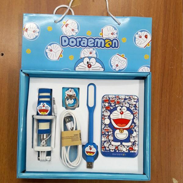 Powerbank Doraemon Paket (tongsis, iring, lampu led)