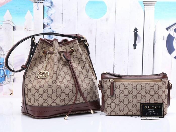 Jual Tas Gucci Petit Serut Canvas COKLAT TUA Semi Premium 405 ... ee6514bbae