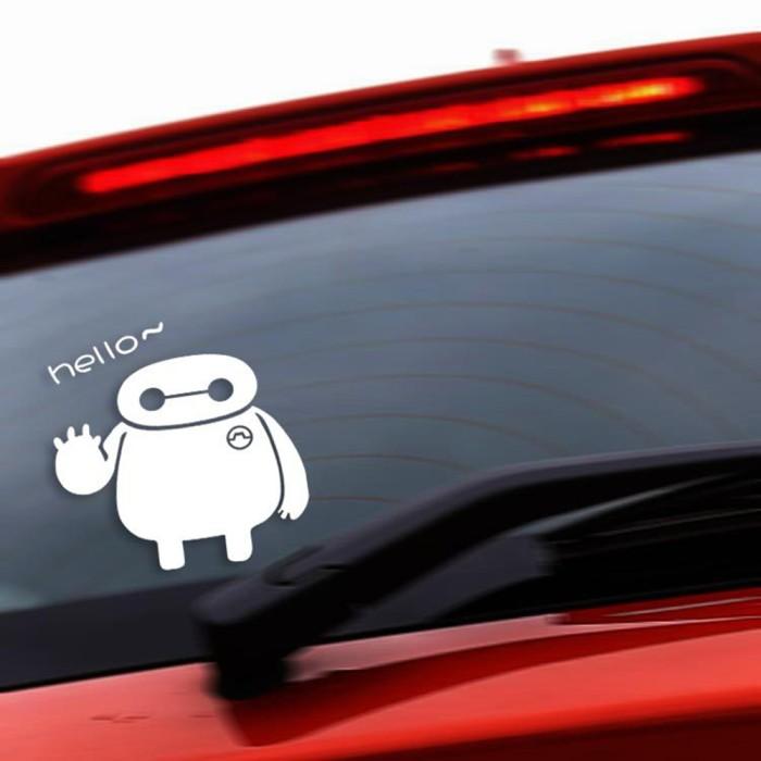 harga Aksesoris mobil motor stiker kaca belakang baymax hello lucu putih