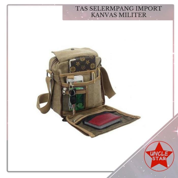 Tas Slempang Import Kanvas Militer / Slempang Messenger Shoulder Bag - Cokelat Muda