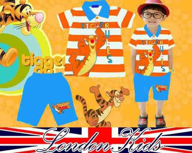 Jual NV12 Baju Setelan Stelan Kaos Kerah Anak Laki Laki London Kids Tigger  - Kota Tangerang Selatan - Kid Clothing Branded | Tokopedia