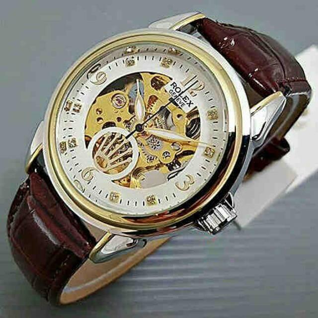 Jual Jam Tangan Rolex Skeleton Kulit 5225 Automatic  6896f08f14