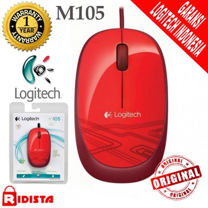 ... harga Logitech m105 mouse kabel original ( l068 ) warna merah Tokopedia.com