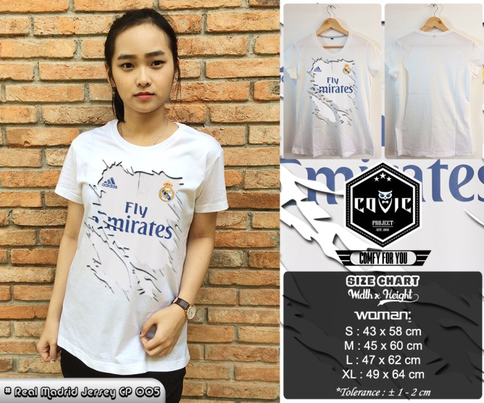 low priced dbd79 ae50e Jual Kaos 3D Real Madrid Jersey CP 005 Putih Wanita By Covic Project - Kota  Tangerang - Covic Project | Tokopedia
