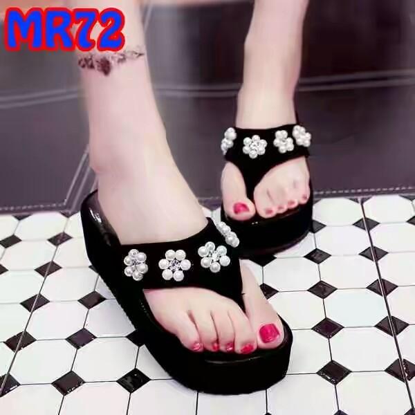... harga Sandal wedges japit hitam bunga kulit 5cm Tokopedia.com 7f2d89c7a1