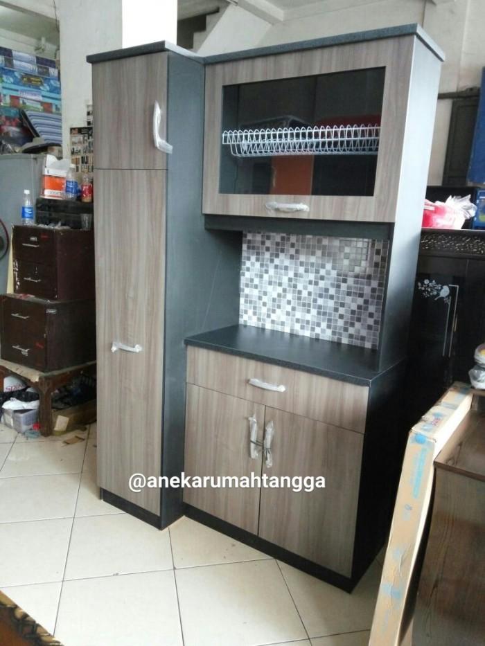 Jual rak piring lemari piring sliding minimalis coklat for Ukuran rak piring kitchen set