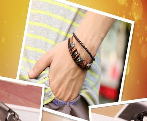 harga Punk Metal Flower Leather Bracelet Gelang Kulit Pria Tokopedia.com