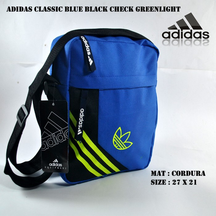 Tas Selempang Adidas Blue Black Check Greenlight