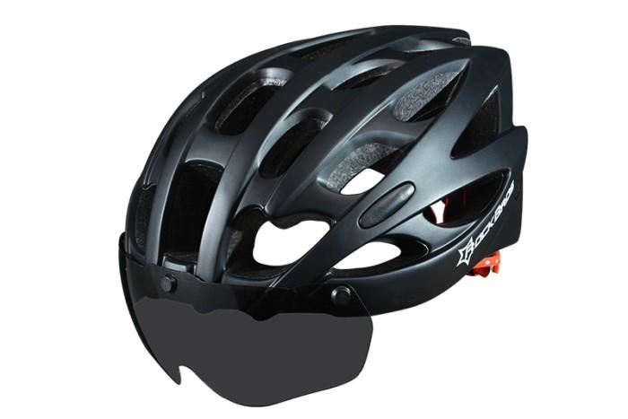 harga Helm sepeda hitam kacamata bermagnet untuk gowes Tokopedia.com