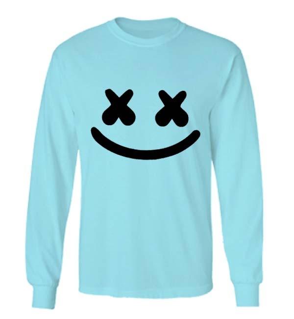 t shirt pria/kaos pria/marshmello/long sleeve-biru
