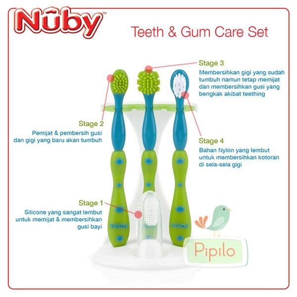 Jual Nuby Tooth   Gum Care Set - Blue   Sikat Gigi   Gusi Anak Bayi ... 3dc0347156