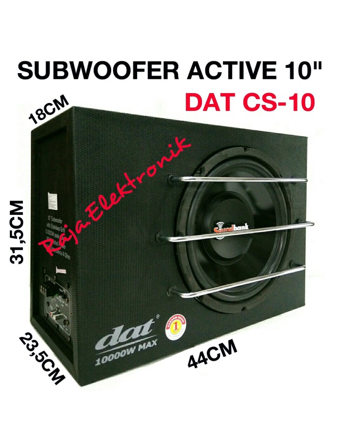 harga Subwoofer active 10  dat soundbank cs-10 speaker bass tube aktif mobil Tokopedia.com