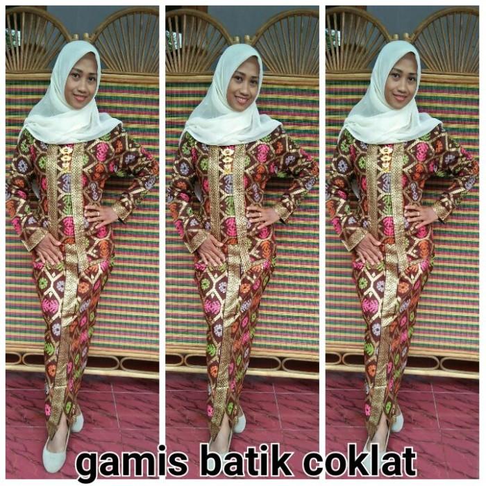 Jual Gamis Batik Modern Setelan Kutubaru Coklat Model Kutubaru