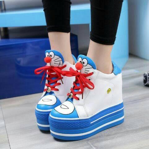 harga Sepatu kets wedges sneakers boot doraemon sepatu boots remaja terbaru Tokopedia.com