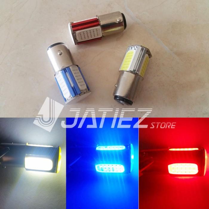 Foto Produk Lampu Rem LED 1157 COB 4 Sisi 7W Bayonet Kaki 2 Motor Mobil dari JATIEZ Store